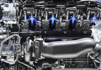 Powerful engine with blue lights of automobile race motor