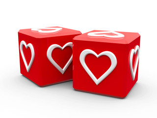 Red cubes with hearts