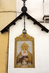 Artwork with ceramic tiles of the Virgin Mary in Seville