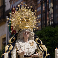 Procession with Maria Auxiliadora in Seville