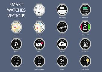 Flat design vector illustration of smart watch clock faces