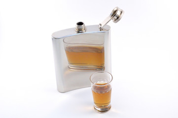 Metal flask whiskey