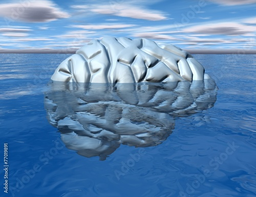Subconscious mind concept with brain under water. - 77019891