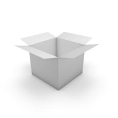 3d box opened template illustration with empty space.