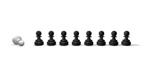 Chess pieces in a row, black and white