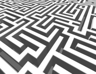 3d maze background, labyrinth render illustration.