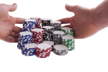 pokerchips with hands