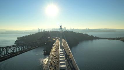 Aerial view New Bay Bridge old Bay Bridge, San Francisco, USA