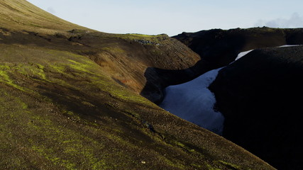 Aerial Landmannalaugar basalt volcanic rock volcano thermal energy Iceland