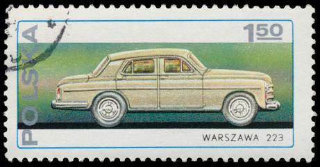 Stamp printed in Poland shows car Warszawa