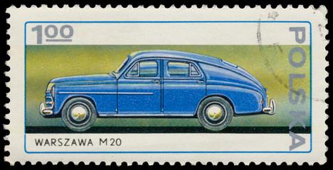 Stamp printed in Poland shows car Warszawa M20