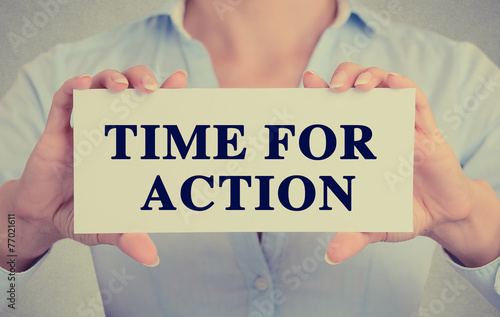 businesswoman hands holding retro sign time for action message