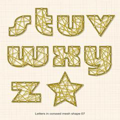 Letters in crossed line pattern 07
