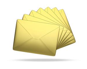 Briefe Gold weißer Hintergrund