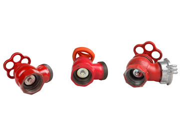 Three Red Cast Iron Fire Hydrant Valve, on white background