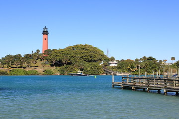 Restored Jupiter lighthouse in Tequesta, Florida