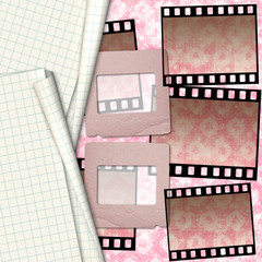 Old paper slides for photos on notebook sheet