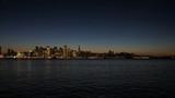 Aerial illuminated night view Port of San Francisco, USA