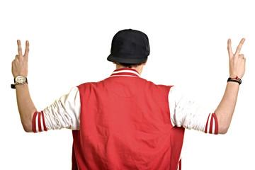 un jeune homme isolé sur fond blanc