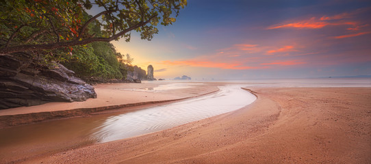 beautiful beach with colorful sky, Thailand