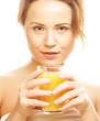 woman isolated  shot drinking orange juice