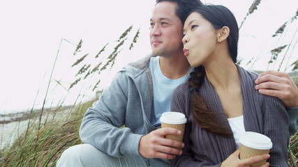 Young Ethnic Beach Couple Healthy Outdoor Beach Lifestyle
