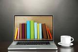 Fototapety E-learning concept.  Digital library - books inside laptop