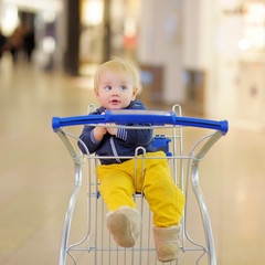 Little boy sitting in the shopping cart