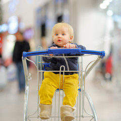 Little boy in the shopping cart