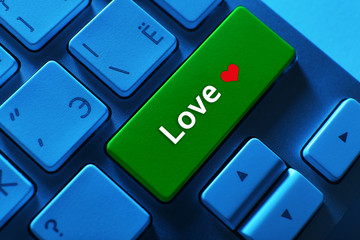 Close up of Love keyboard button