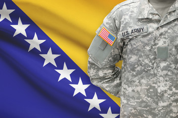 American soldier with flag - Bosnia and Herzegovina
