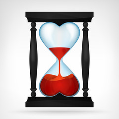 flowing red love liquid in dual heart shaped hourglass design