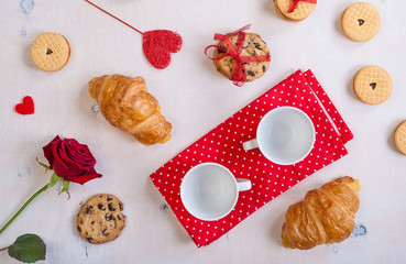 Valentines day background. Breakfast with cookies and roses