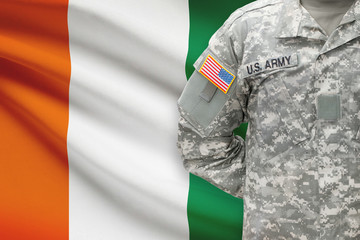 American soldier with flag - Cote d'Ivoire - Ivory Coast