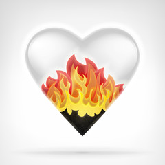 burning love concept as heart shape in blazing flames design