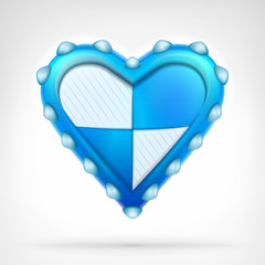 defense shield of love concept as armored blue heart design