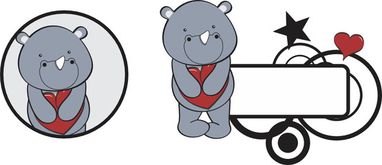 valentine rhino cartoon heart hug copyspace