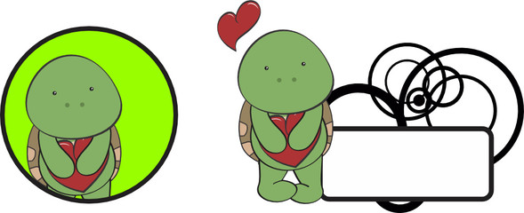 valentine turtle cartoon heart hug copyspace