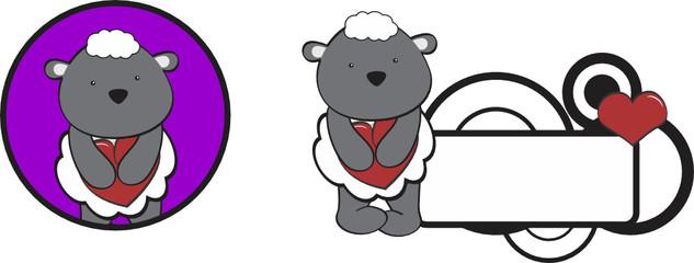 valentine sheep cartoon heart hug copyspace