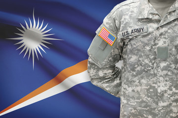 American soldier with flag - Republic of the Marshall Islands