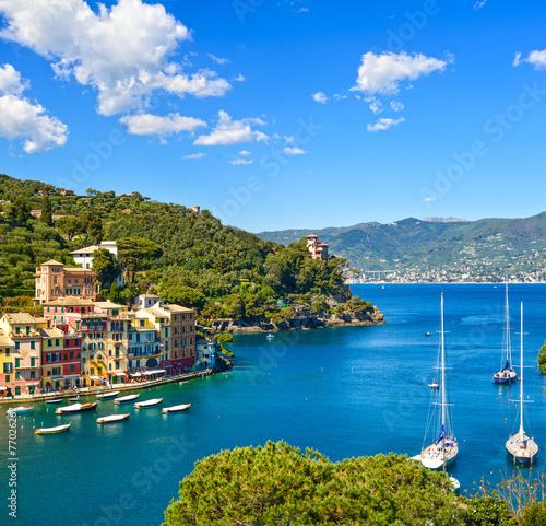 Portofino luxury village landmark, panoramic aerial view. Liguri - 77026267