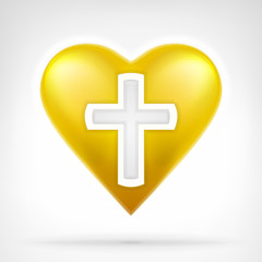 I love my religion concept as snowflake on golden heart icon