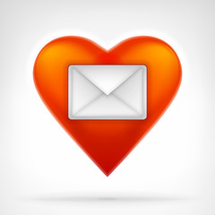 love message concept as envelope on red heart icon design