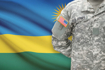 American soldier with flag on background - Rwanda