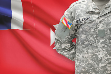 American soldier with flag on background - Wallis and Futuna