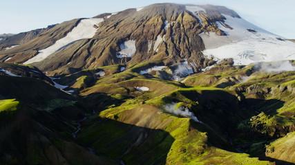 Aerial Landmannalaugar active mountain volcanic region steam venting Iceland