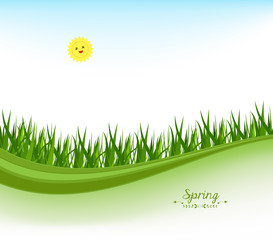 springl banners with grass and blue sky