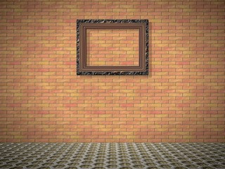 Empty room with picture generated texture
