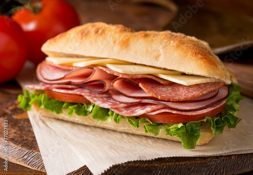 Fotobehang Snack Cold Cuts Sandwich