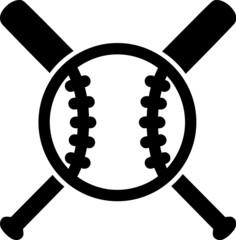 Baseball with crossed bats